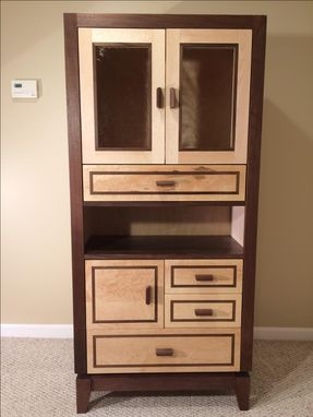 Custom Made Walnut & Bird's Eye Maple Cabinet