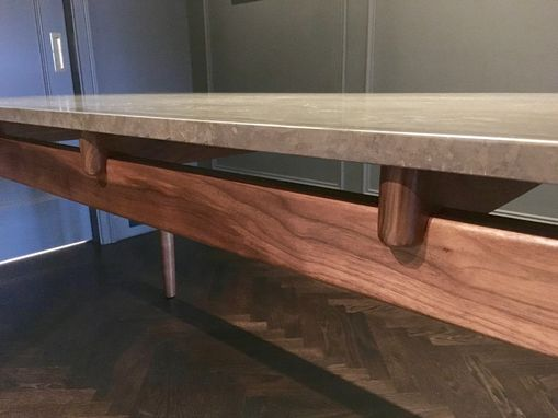 Custom Made Karina Mid Century Walnut Table Base For Stone Or Marble Top