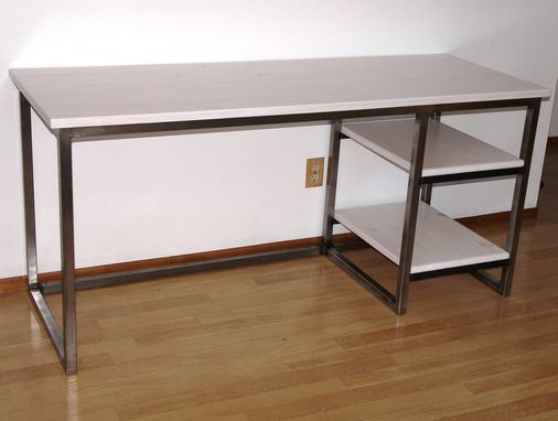 Custom Made Modern Urban Industrial Desk, Wood & Metal Office Desk With Shelves, Work Station, Craft Table