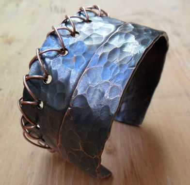 Custom Made Unisex Hammered Copper Cuff With Wire Stitching