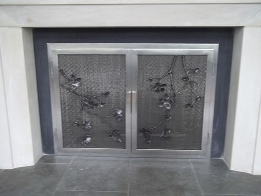 Custom Made Cherry Blossoms On Stainless Steel Fireplace Doors