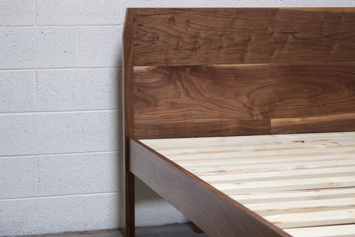 Custom Made Solid Walnut Wooden Bed Frame And Headboard Set / Modern / Clean / Mid-Century / Wood