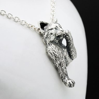 Custom Made Sterling Silver Grooming Cat Pendant