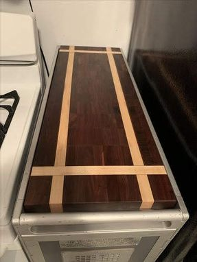 Custom Made End Grain Walnut And Maple Cutting Board For Food Cart
