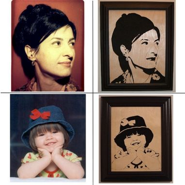 Custom Made Custom Hand Cut Portrait In Wood, Immortalize A Picture Of A Loved One In A Beautiful Scroll Saw Portrait