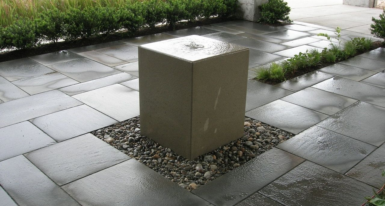 Hand Crafted Acid Washed Concrete Fountain By Crump And