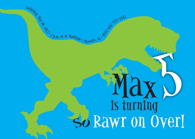 Custom Made Dinosaur Birthday Invitation