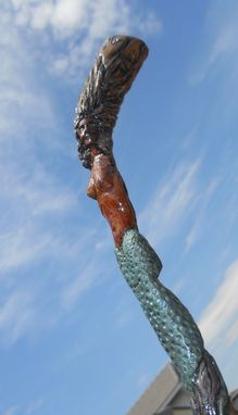 Custom Made Vintage Carved Wood Mermaid Walking Stick