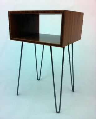 Custom Made Set Of Two - Mid Century Modern Open Bedside Side Table -In Caramelized Bamboo W/ Hairpin Legs