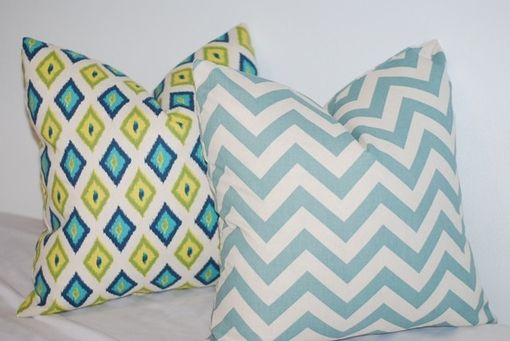 Custom Made Bright Blue And Green Diamond Pattern Pillow Cover - Blue And Green Geometric Pillow