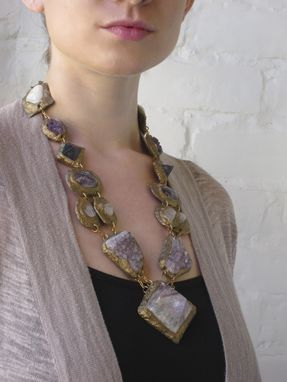 "Custom Made Statement Necklace-Semiprecious Minerals And Stones ""Amethyst Mix"""