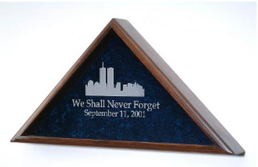 Custom Made World Trade Center Flag Case, 911 Memorial Flag Display Case