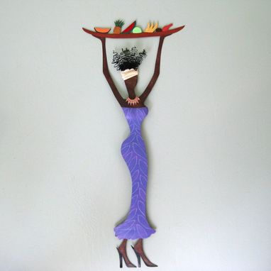 Custom Made Handmade Upcycled Metal Exotic African Lady With Platter Wall Art Sculpture