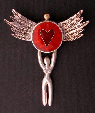 Handmade Goddess Heart Pendant Pin Necklace By Julie