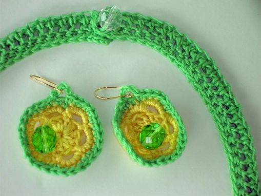 Custom Made Crocheted Green And Yellow Necklace And Earring Set With Beads