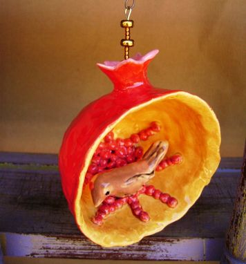 Custom Made Pomegranate Ceramic Ornament With Brown Bird, Hand Sculpted