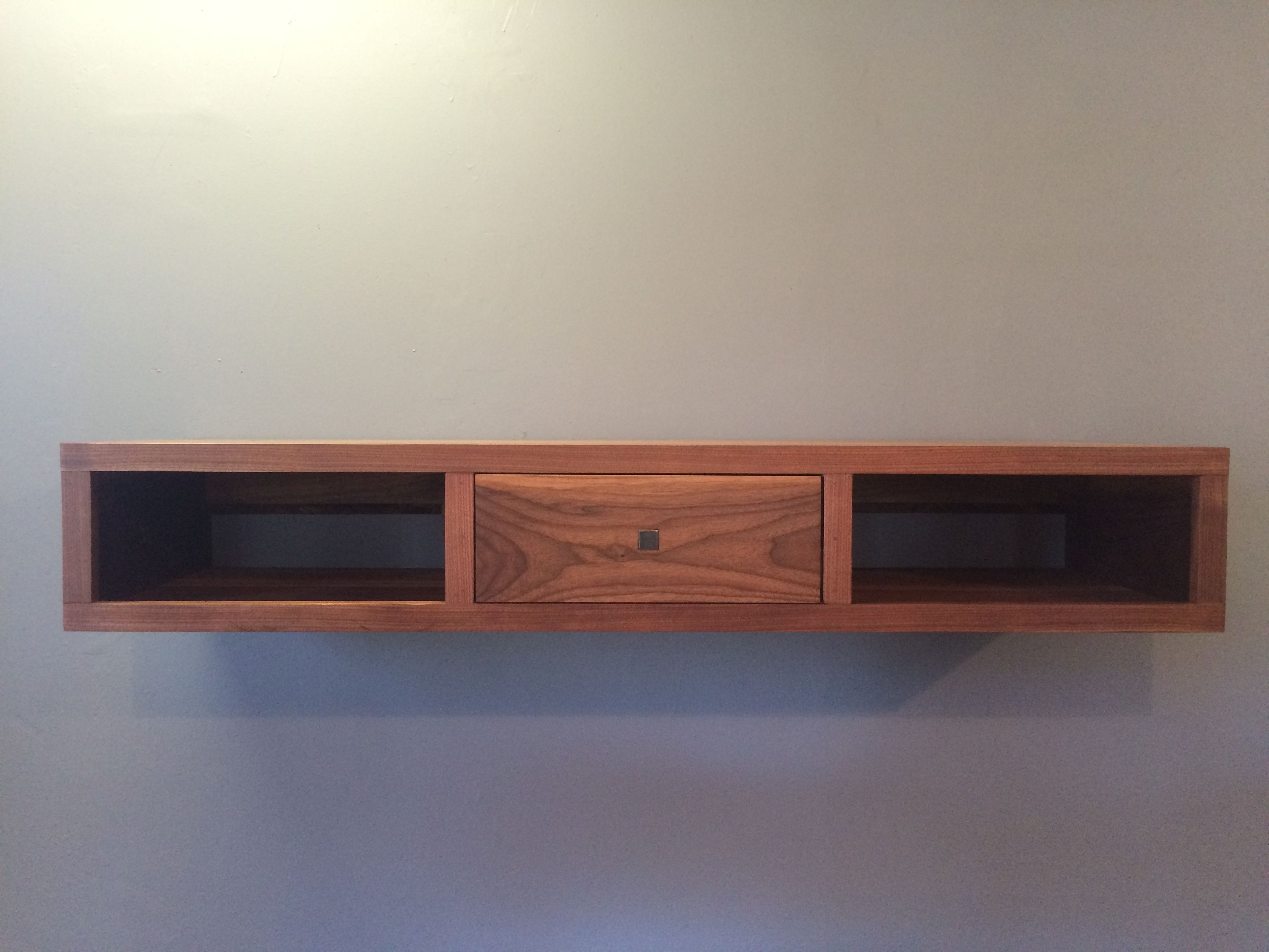 Custom Made American Walnut Floating Console