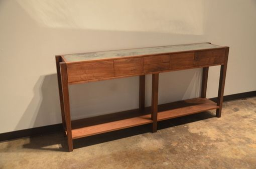Custom Made Black Walnut And Antique Mirror Console Table