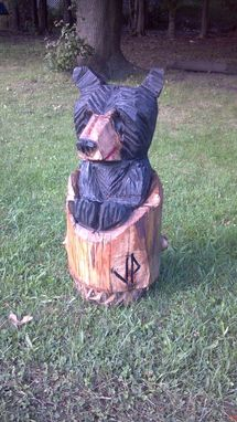 Custom Made Rustic Black Bear In Tree Stump