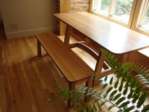 Custom Made Trestle Style Table And Bench Made From Quarter Sawn White Oak