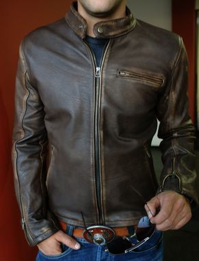 Custom Made R79 Leather Jacket Cafe Racer Vintage Fit In Brown Or Distressed Brown Regular Or Custom-Made