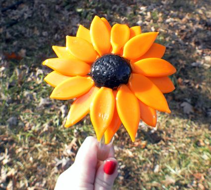 Custom Made Black Eyed Susan, Lampwork Hand Blown Glass Flowers, Spring Daisies Sun Flower, Boro Sra