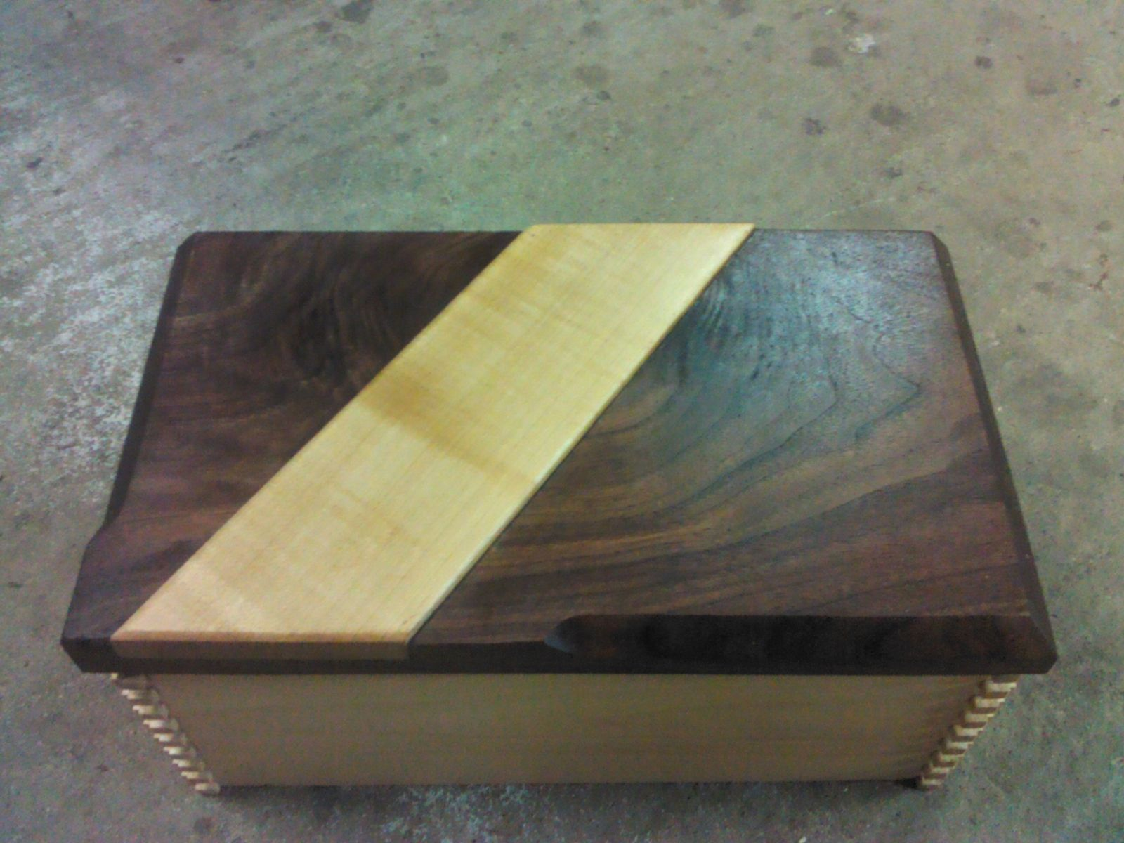 Hand Made Walnut And Maple Humidor With Secret Compartment