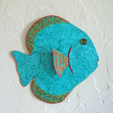 Custom Made Handmade Upcycled Metal Tropical Fish Wall Art Sculpture In Turquoise