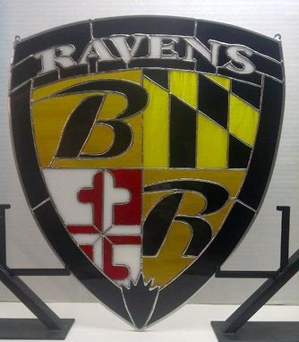 Custom Made Stained Glass Hanging Panel - Baltimore Ravens (P-14)