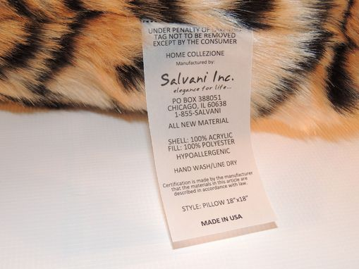 Custom Made Siberian Tiger Caramel Black Faux Fur 18 X 18 In. Decorative Pillow - Set Of 2