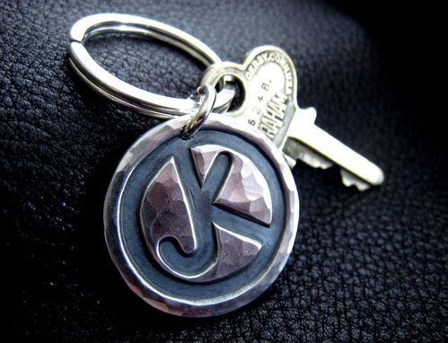Custom Made Ranch Brand Cattle Brand Keychain In Sterling Silver Monogrammed With Hand Hammered Finish