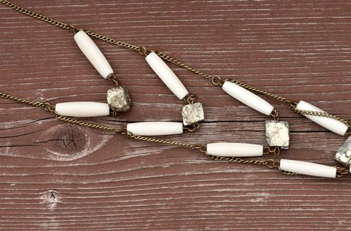 Custom Made Pyrite Necklace With Five Layers Of Pyrite And Bone Beads On Brass Chain
