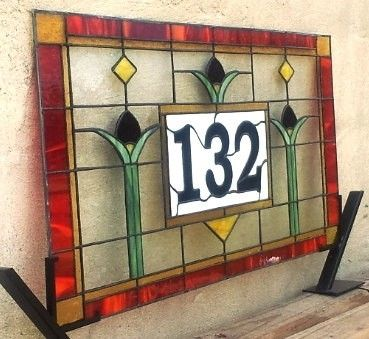 "Custom Made Stained Glass Transom / ""Craftsman Tulips"" (Am-51)"
