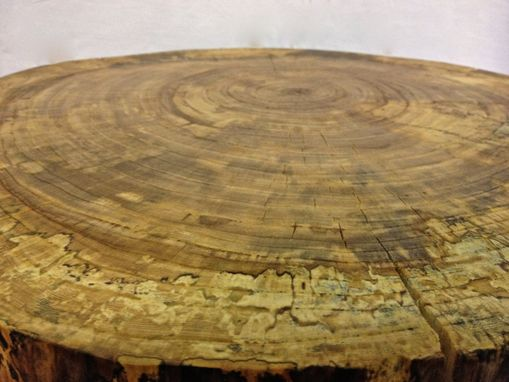 Custom Made Natural Live Edge Round Slab Side Table / Night Stand With Steel Legs