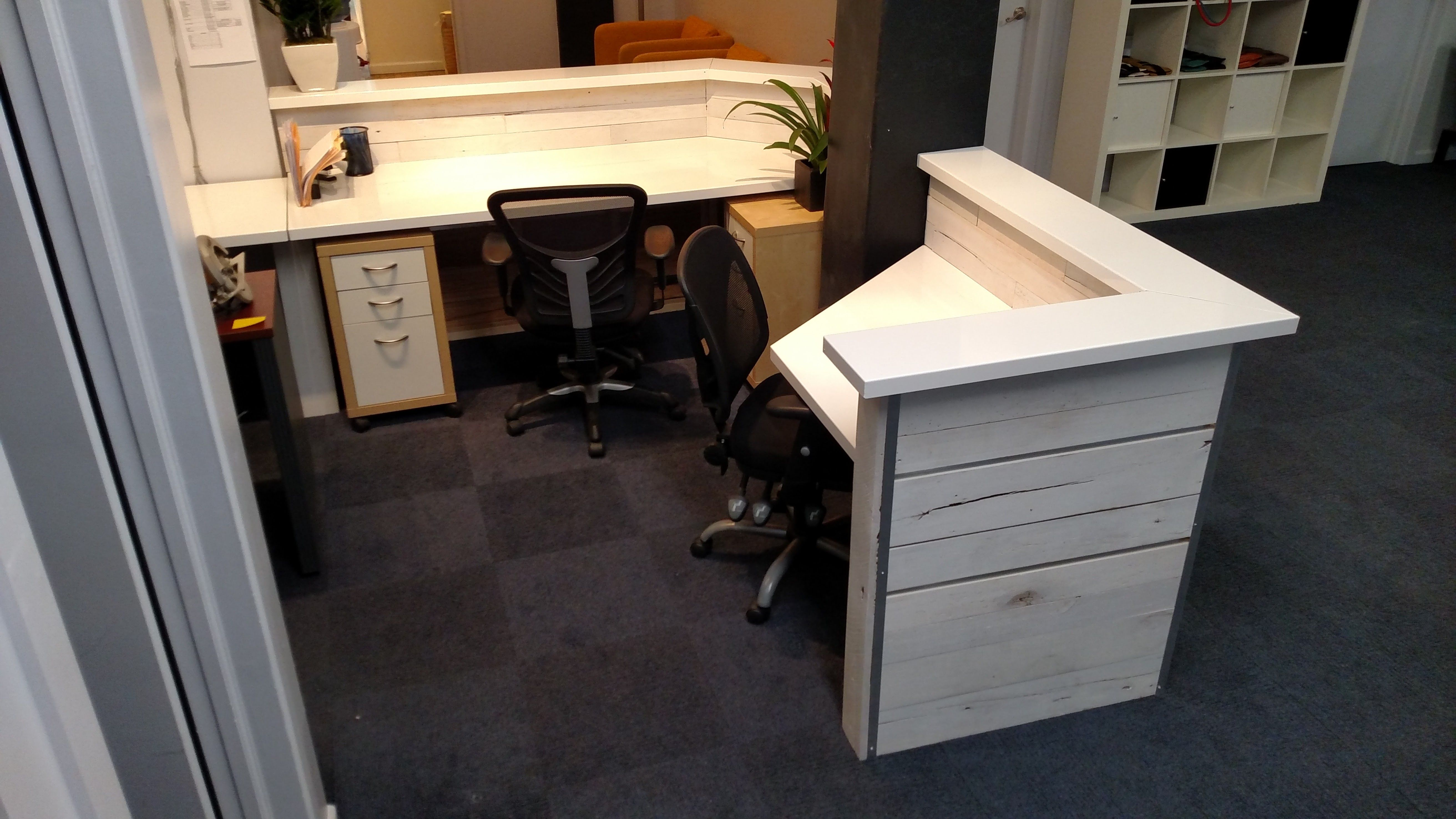 Hand Made White Washed Reclaimed Wood And Steel Reception Desk By