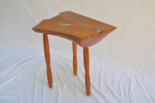 Custom Made Small Natural-Edge Cherry Side Table.  1009