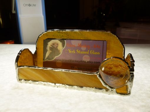Custom Made Amber Brown Stained Glass Business Card Holder
