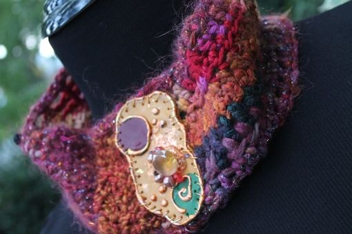 "Custom Made Earth Fire - 21"" Cowl Neck Warmer With Handmade Closure"