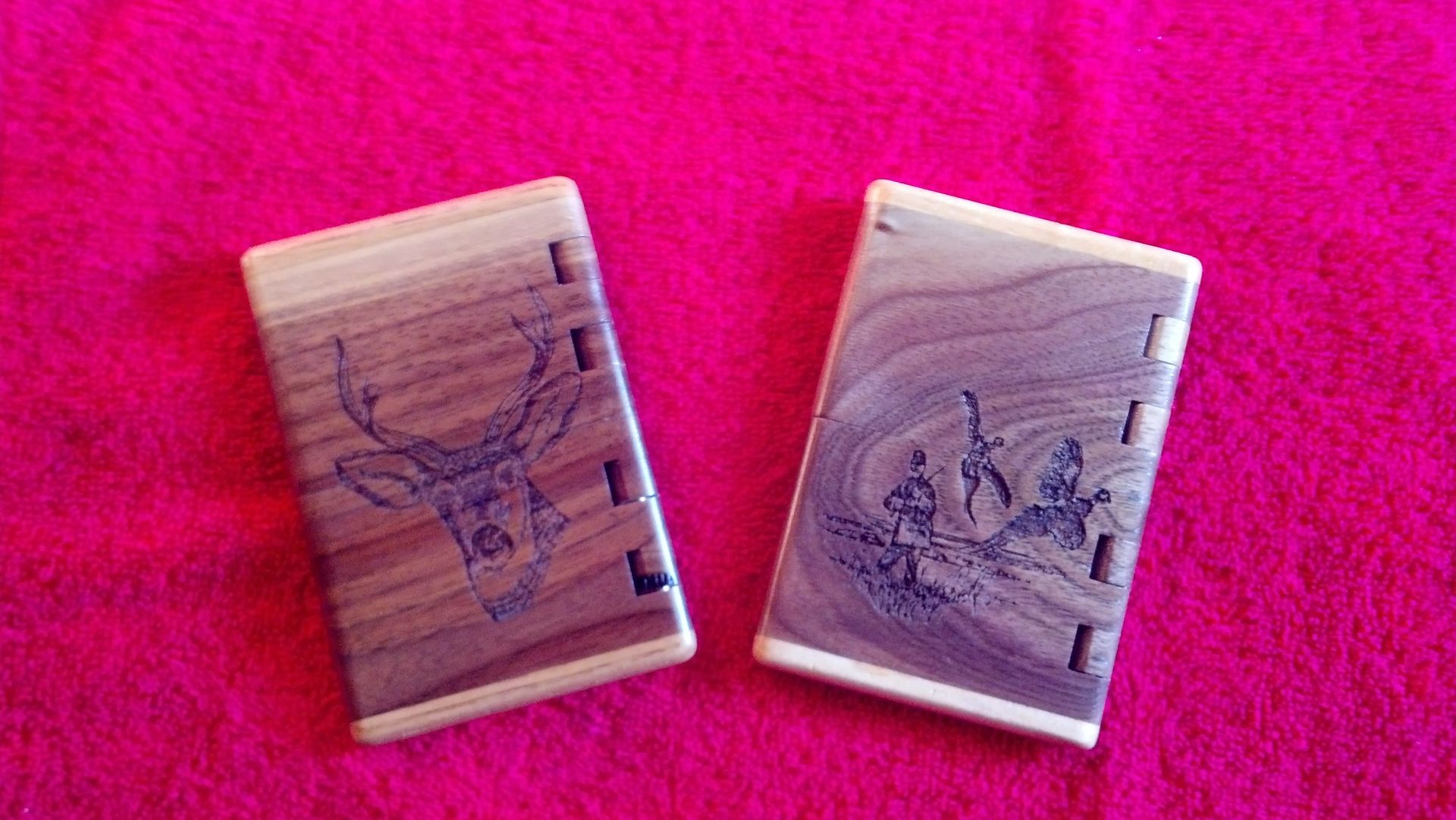 handmade laser engraved business card holder by rats wood