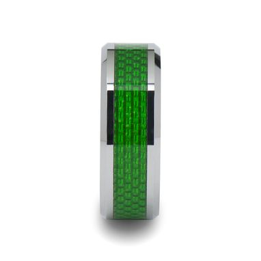 Custom Made Vermont Tungsten Carbide Ring With Emerald Green Carbon Fiber Inlay - 8mm