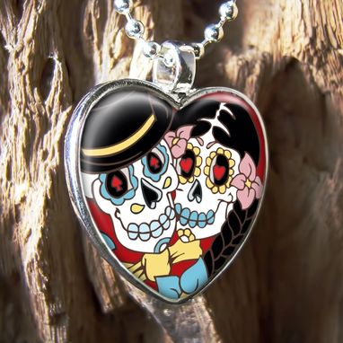 Custom Made Day Of The Dead Bride & Groom Silver Heart Necklace 68-Shn