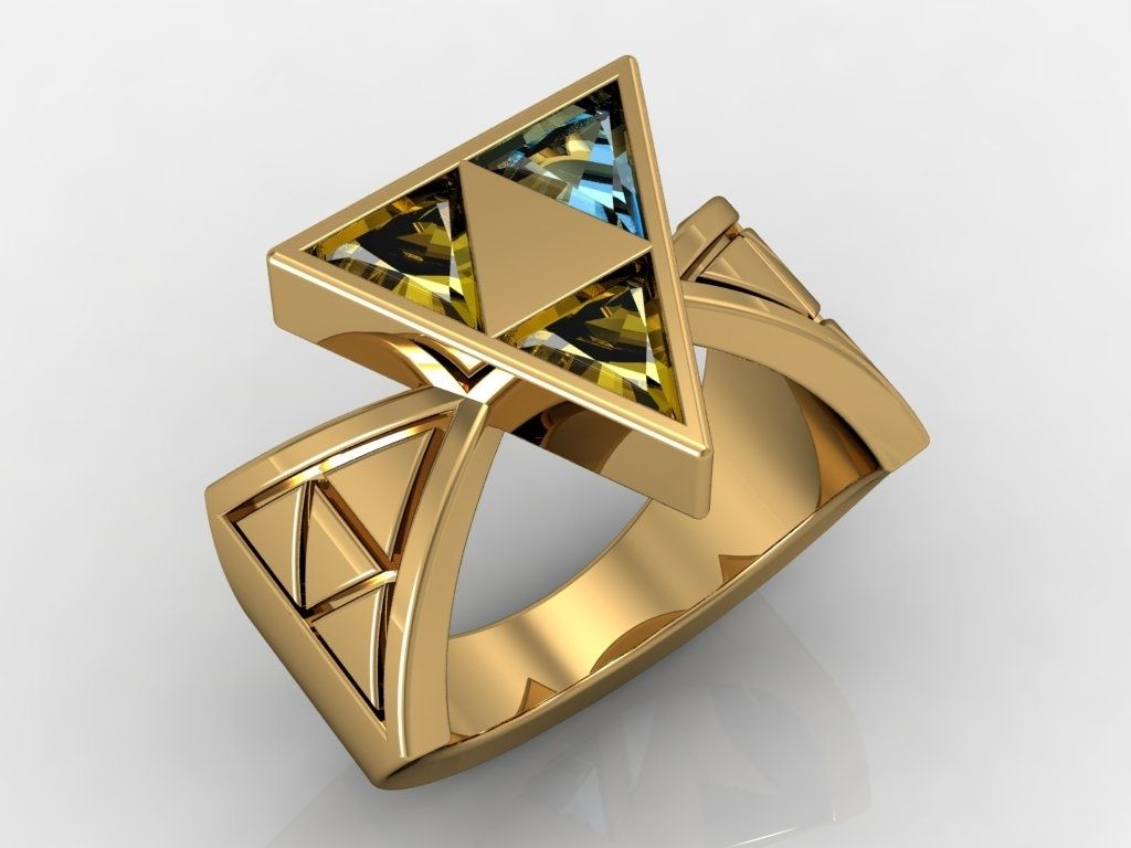 14 Kt Yellow Gold Zelda Triforce Of Wisdom Ring