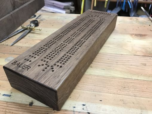 Custom Made Cribbage Board With Internal Peg And Card Storage
