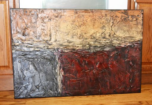 "Custom Made 36x24 Original Modern Textured Contemporary Abstract Painting By Alisha ""Red Day Dawning"""