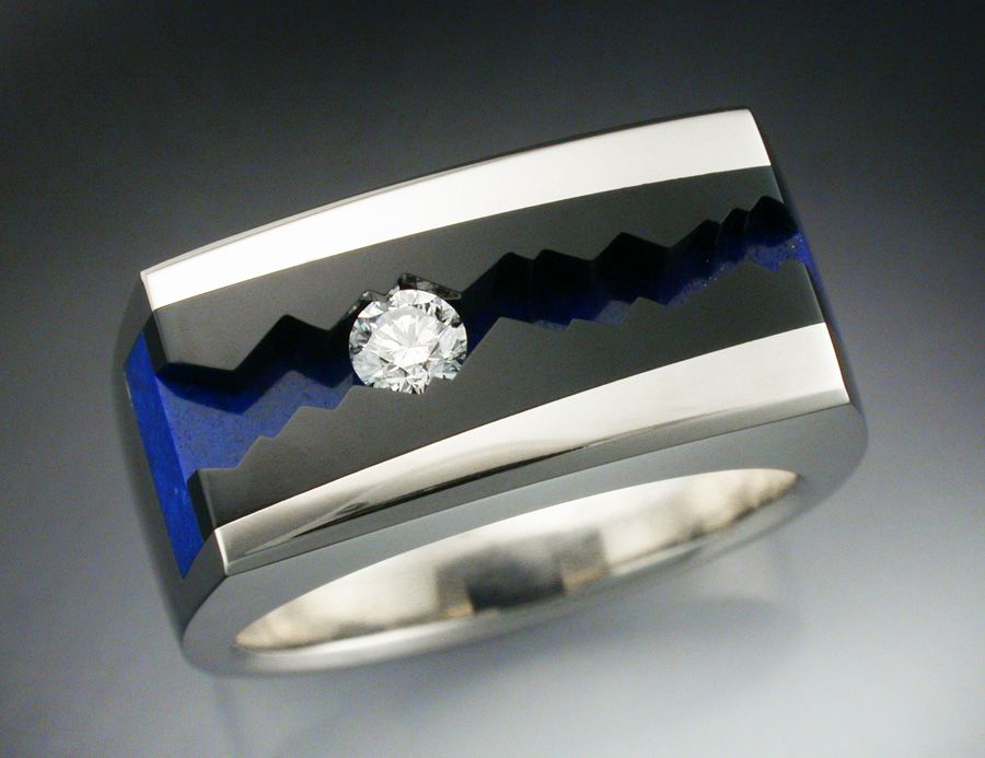 Buy a Hand Crafted 14k White Gold Man s Ring With Black Jade