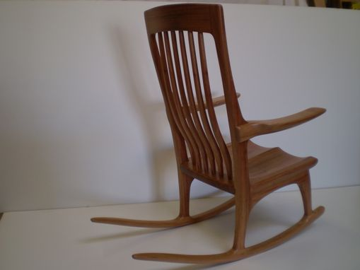 Custom Made African Mahogany Rocking Chair
