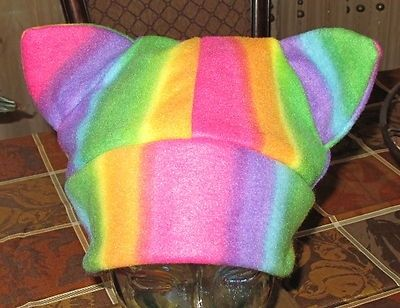 Custom Made Multicolor Pattern Fleece Cat Ears Winter Warm Ski Hats In 6 Sizes