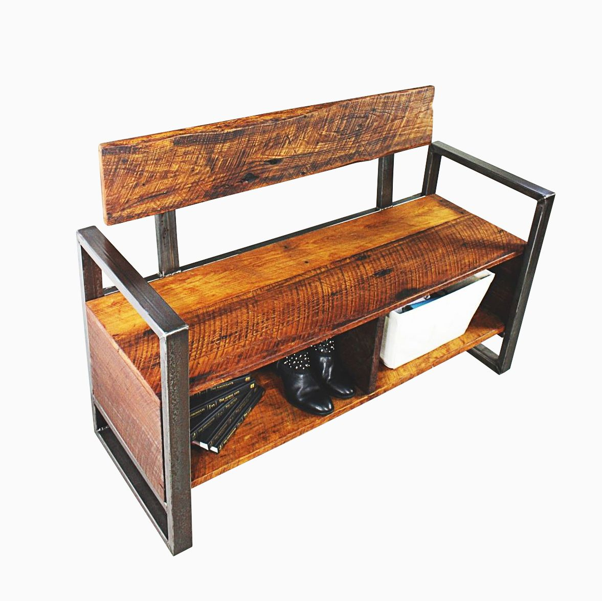 Buy Foyer Bench : Buy a custom unique reclaimed wood storage foyer bench