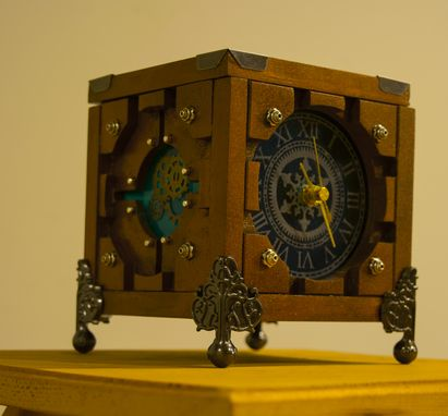 Custom Made Customized Lighted Wood Steampunk Box Portal Cube Clock