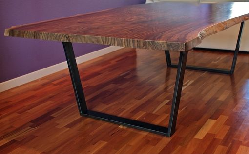 Custom Made Modern Dining Table Walnut, Live Edge And Steel Base